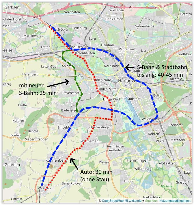 Fahrtzeitverkürzung durch Ausbau der S- Bahn
