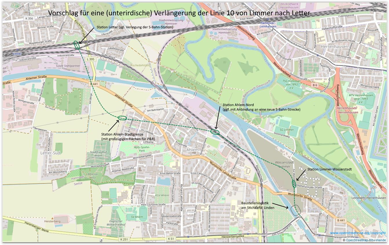 Vorschlag für eine U-Bahn von Limmer bis Letter